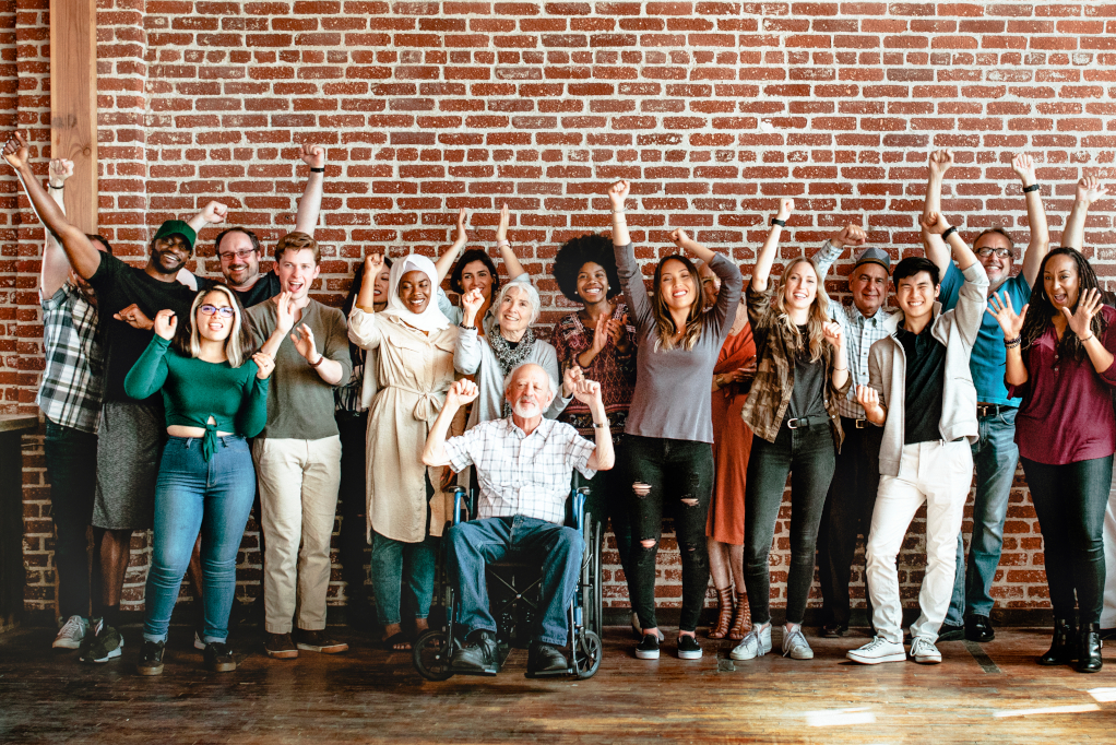 Cheerful diverse people in a workshop